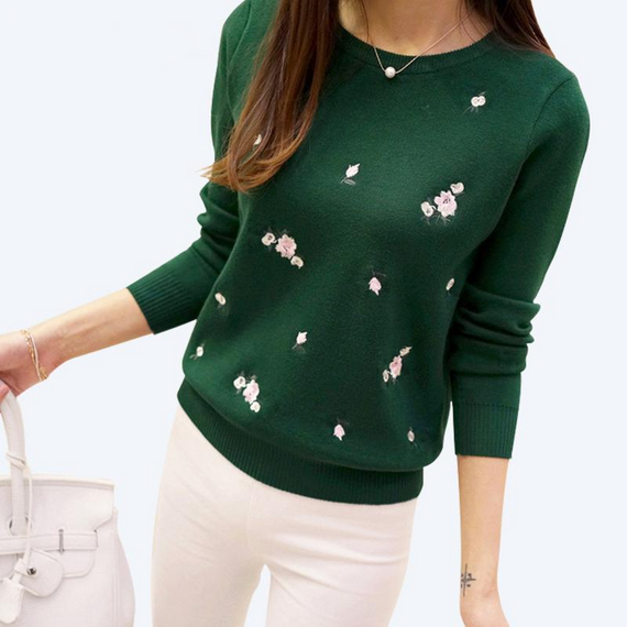 EMBROIDERED FLORAL SWEATER