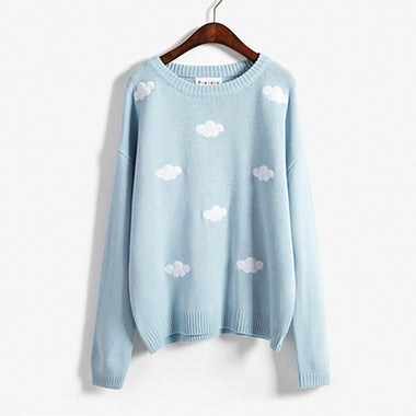 EMBROIDERED CLOUD SWEATER