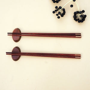 A Set of 2 Pairs of Handmade Wooden Chopsticks with 2 Rests
