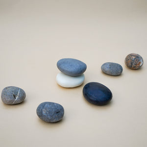 Set of 3 Handmade Pebble Soaps in Natural Plain Colour