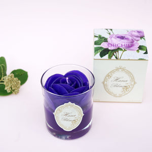 Purple Rose Scented Container Candle. Scented with orchid fragrance. A stunning beautiful rose candle.