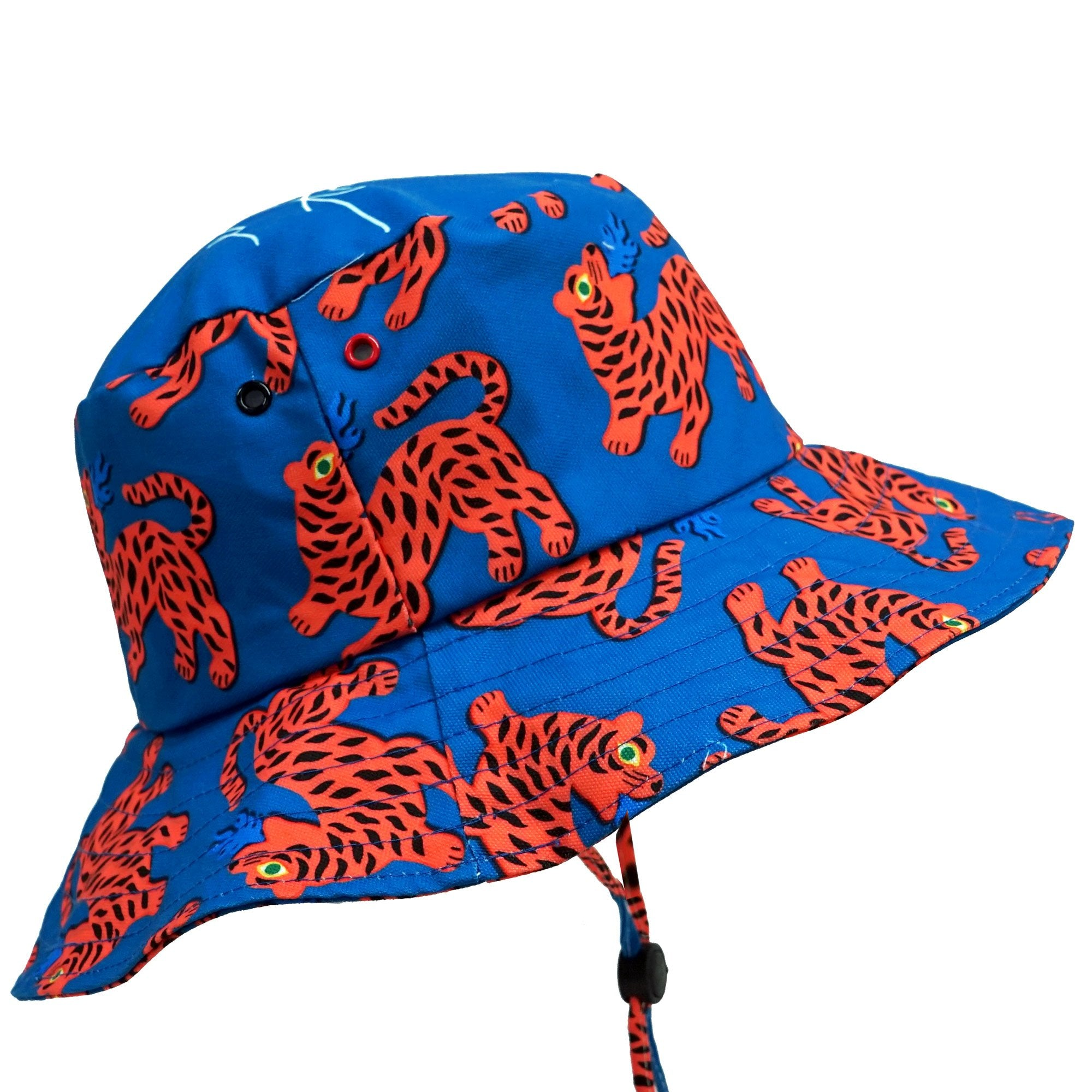 Fire Red Tiger Blue Wide Bucket Hat