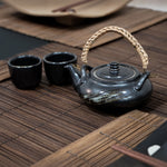 Handmade Black Chinese Teapot Set with 2 Cups