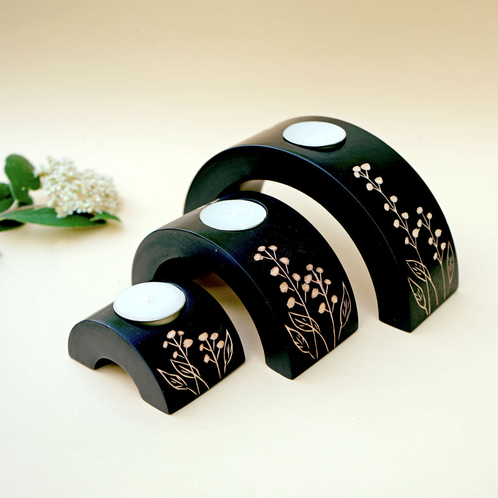 Wooden Crescent Tealight Holder Set in Peony Bud Design