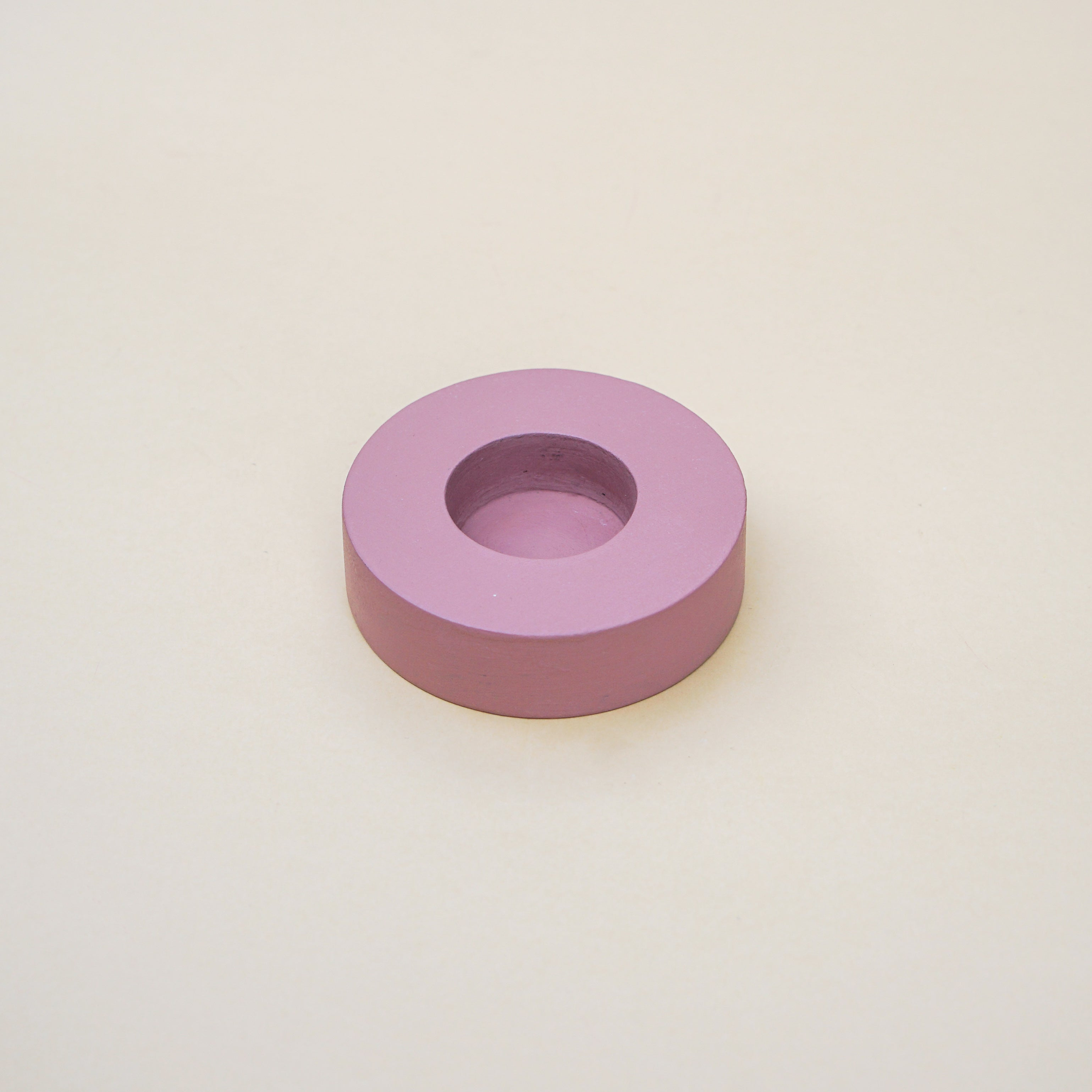 Blush Round Wooden Tealight Holder. Smooth round edge with pastel tone finish. Perfect for contemporary look interior.