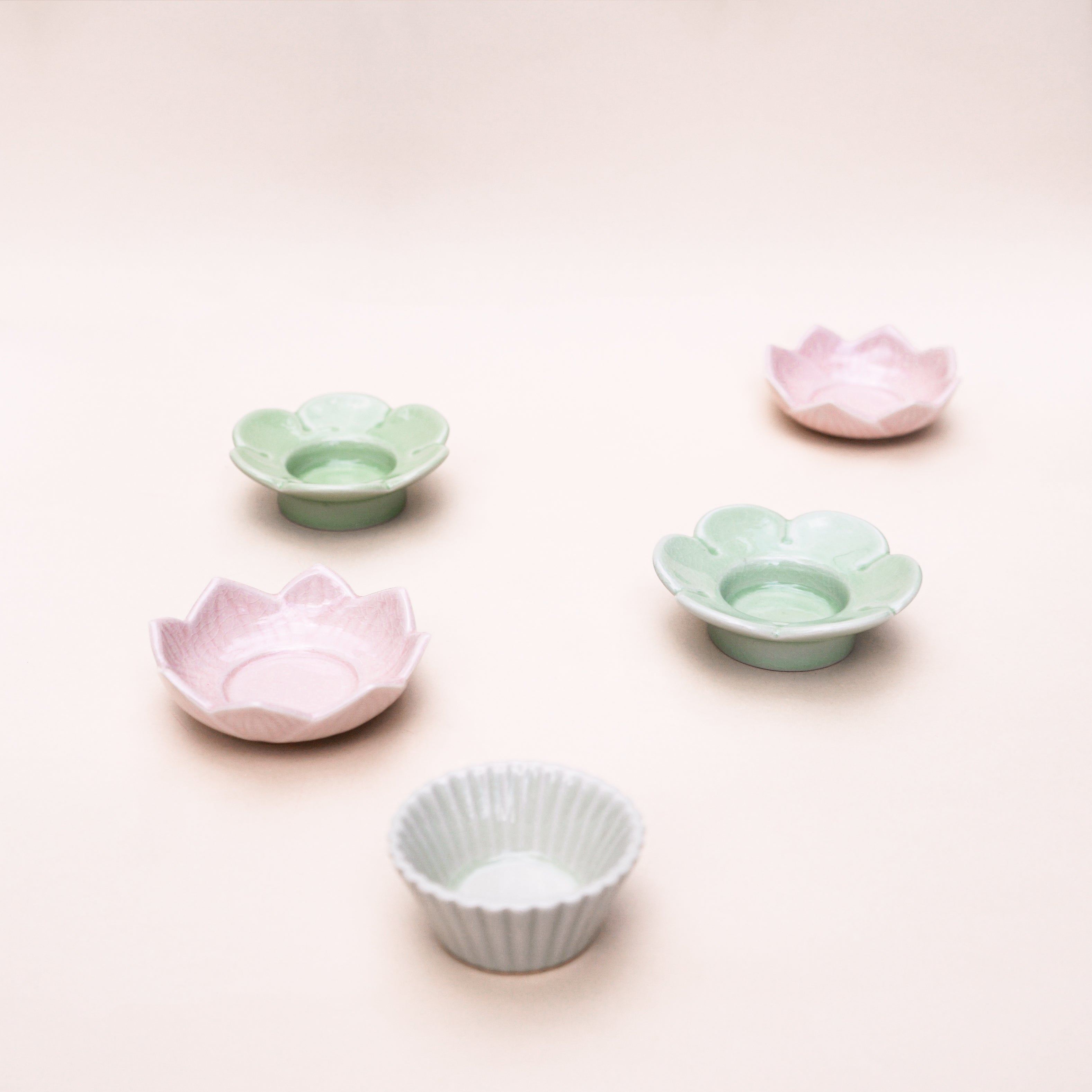 Pink Lotus Stoneware Tealight Holder