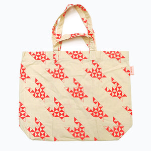 Inspired by the geometric shapes and origami, this tote bag printed design is so cool.
