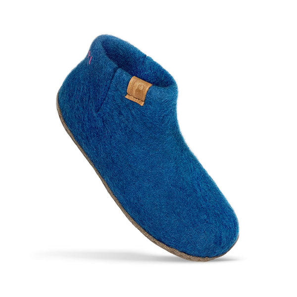 Baabushka fair trade sustainable wool bootie with leather soles - blue, eco-friendly felted wool slipper