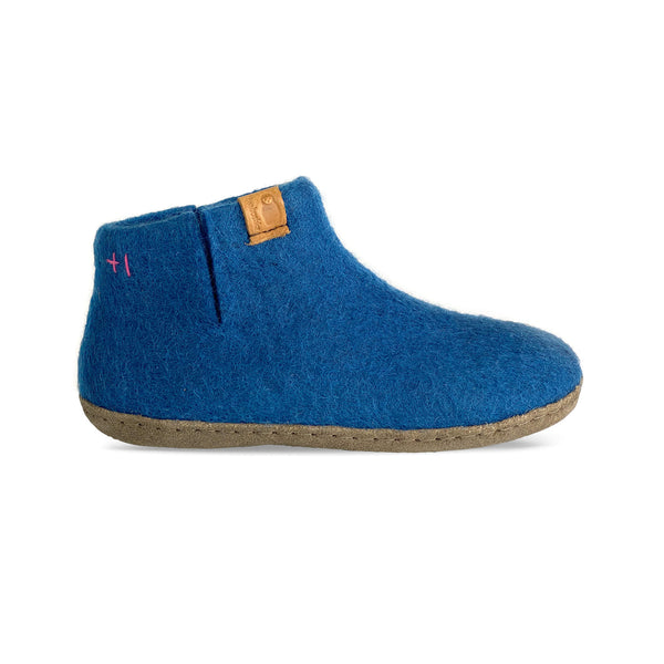 Wool Bootie with Leather Sole - Blue