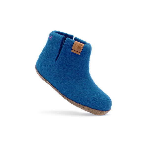 Kids Wool Bootie with Leather Sole - Blue