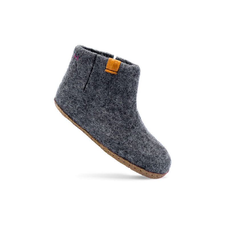 Kids Wool Bootie with Leather Sole - Dark Gray