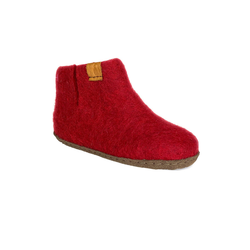 Kids Wool Bootie with Leather Sole - Red