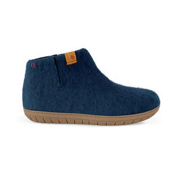 NEW - Wool Bootie with Rubber Sole and Arch Support - Navy