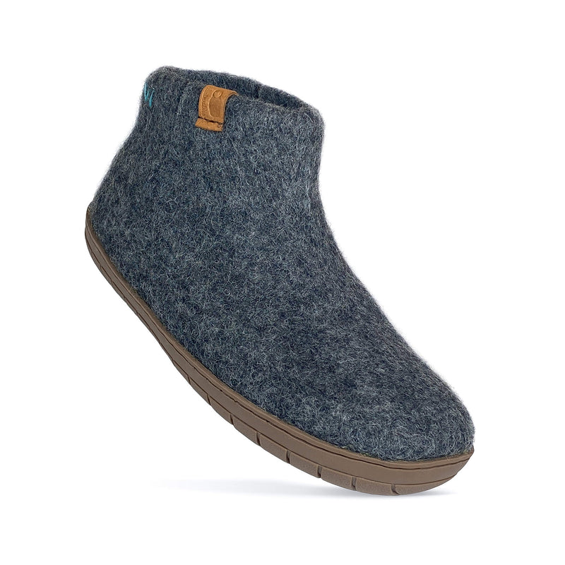 Baabushka bootie with rubber sole and arch support - dark gray – our fair trade slippers are made with 100% sustainable, eco- friendly wool