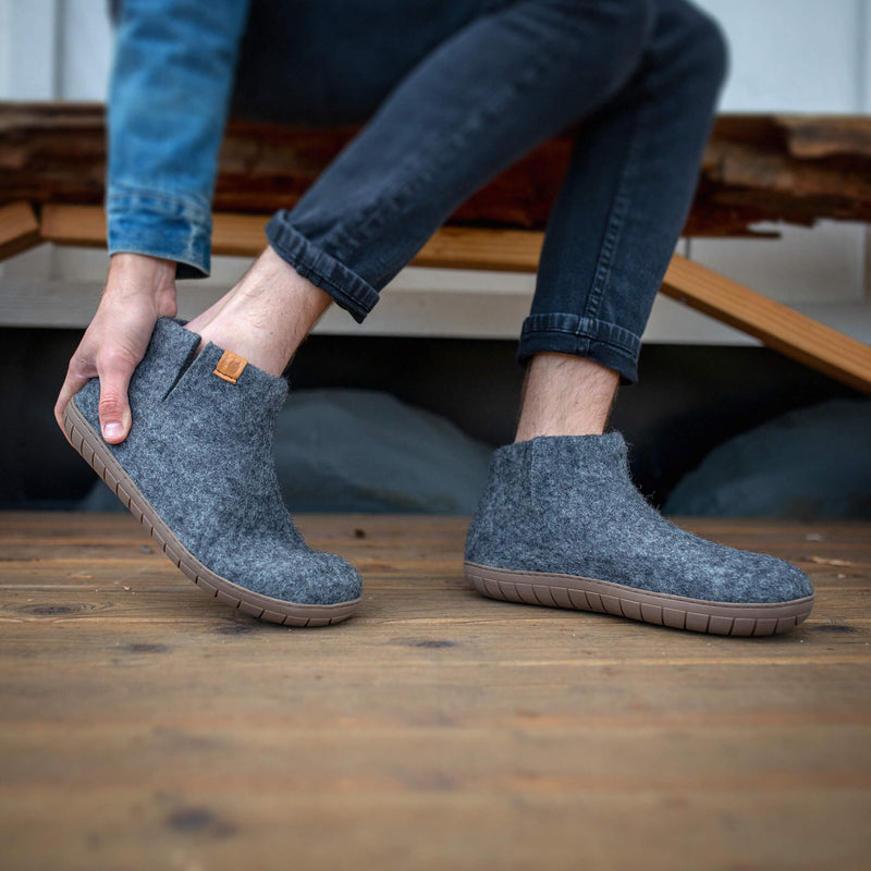 NEW - Wool Bootie with Rubber Sole and Arch Support - Dark Gray