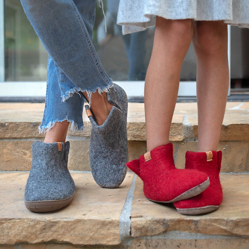 Baabushka felted wool is gentle on your feet —naturally insulating, yet allowing your skin to breathe— so you can enjoy wearing your Baabushka slippers year-round