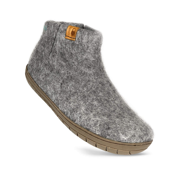 Baabushka fair trade sustainable wool bootie with rubber sole and arch support - light gray, eco- friendly wool slipper