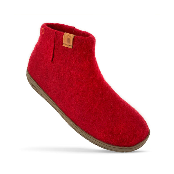NEW - Wool Bootie with Rubber Sole and Arch Support - Red