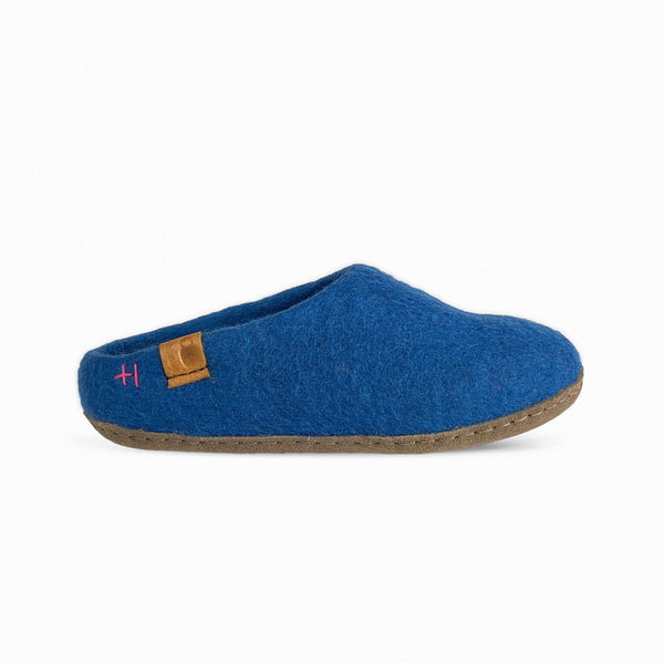 Wool Slipper with Leather Sole - Blue