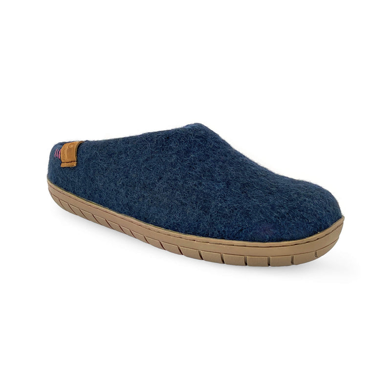 NEW - Wool Slipper with Rubber Sole and Arch Support - Navy