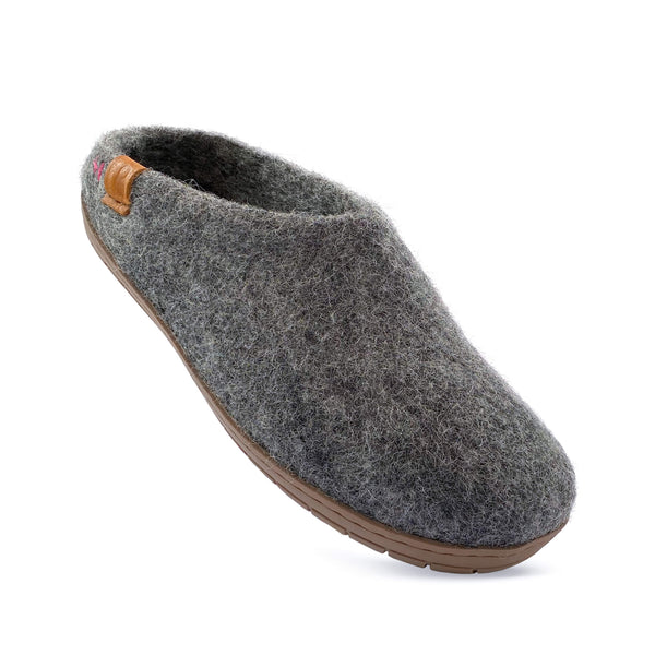 Baabushka fair trade sustainable wool clog with rubber sole and arch support - dark gray, eco- friendly wool slipper