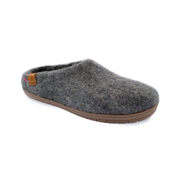 NEW - Wool Slipper with Rubber Sole and Arch Support - Dark Gray