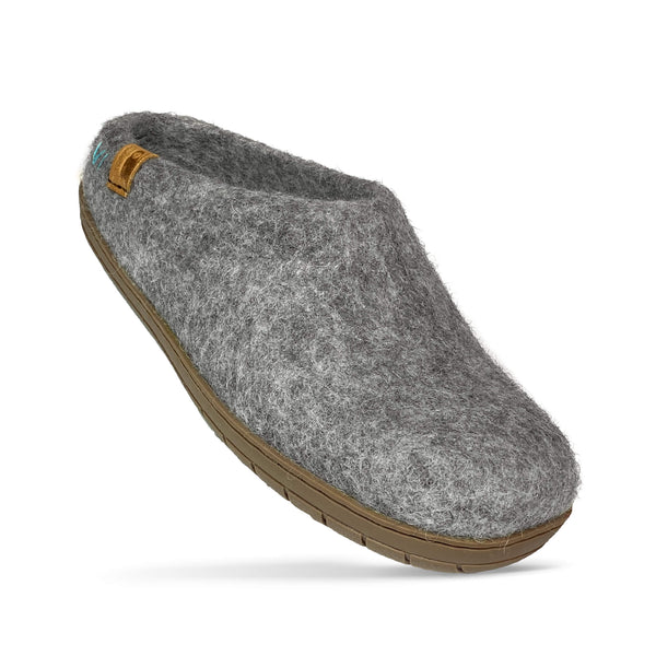 Baabushka fair trade sustainable wool clog with rubber sole and arch support - light gray, eco- friendly wool slipper
