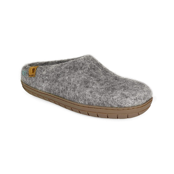 NEW - Wool Slipper with Rubber Sole and Arch Support - Light Gray
