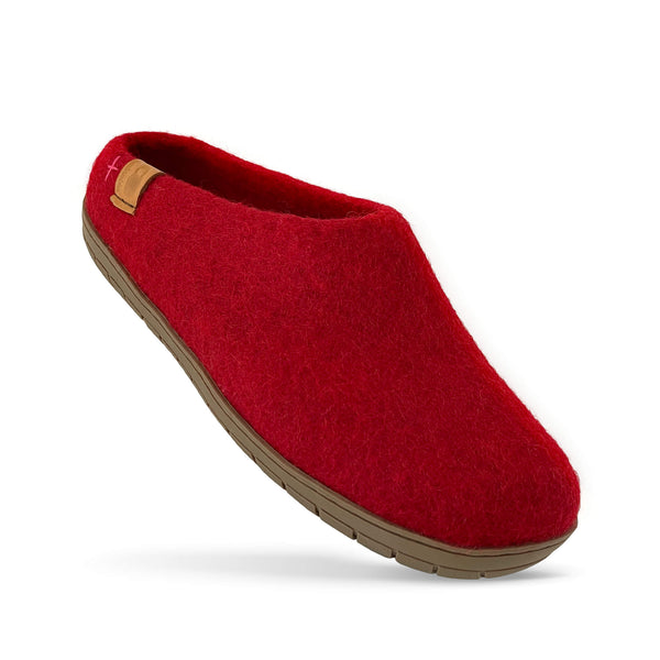 NEW - Wool Slipper with Rubber Sole and Arch Support - Red