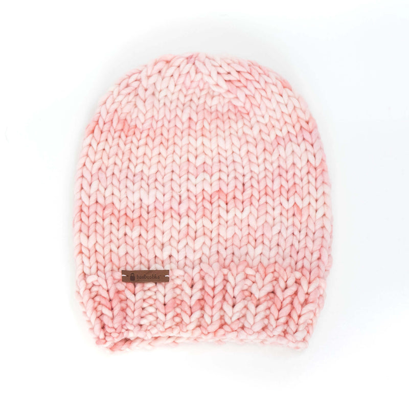 Women's Slouchy Merino Wool Reversible Beanie - Cotton Candy