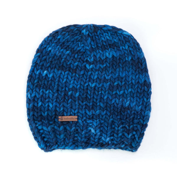 Women's Slouchy Merino Wool Reversible Beanie - Midnight Blue