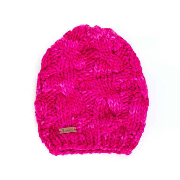 Women's Chunky Slouchy Cable Knit Merino Wool Beanie - Fuchsia