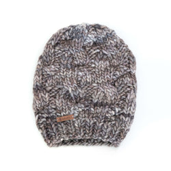 Women's Chunky Slouchy Cable Knit Merino Wool Beanie - Smoky Pearl