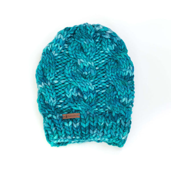 Women's Chunky Cable Knit Merino Wool Beanie - Ocean