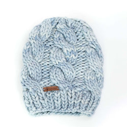 Women's Chunky Cable Knit Merino Wool Beanie - Blue Angel