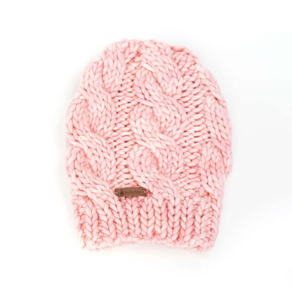 Women's Chunky Cable Knit Merino Wool Beanie - Cotton Candy