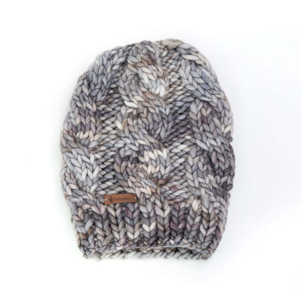 Women's Chunky Cable Knit Merino Wool Beanie - Smoky Pearl