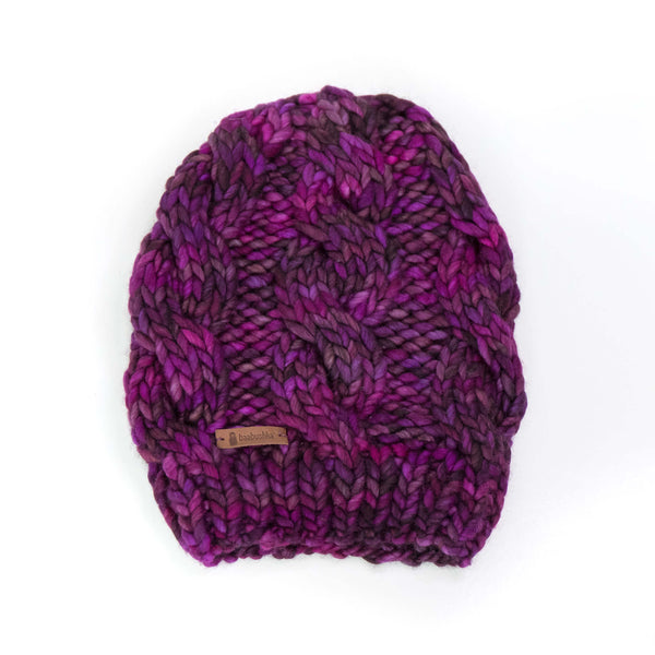 Women's Chunky Cable Knit Merino Wool Beanie - Sangria