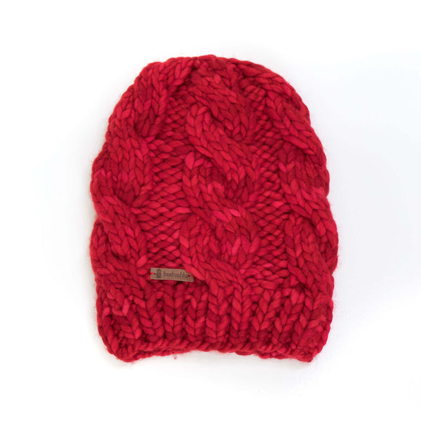 Women's Chunky Cable Knit Merino Wool Beanie - Red Delicious