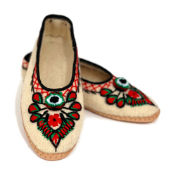 Wool Folk Slippers With Embroidery - Creme