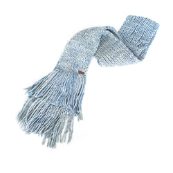 Women's Chunky Oversized Merino Wool Long Tassel Scarf - Blue Angel