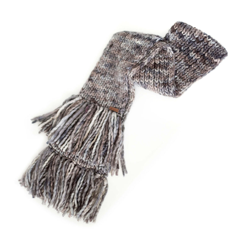 Women's Chunky Oversized Merino Wool Long Tassel Scarf - Smoky Pearl