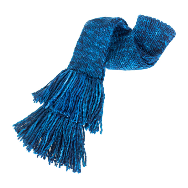 Women's Chunky Oversized Merino Wool Long Tassel Scarf - Midnight Blue