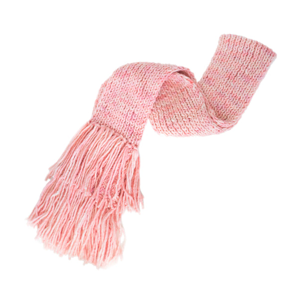 Women's Chunky Oversized Merino Wool Long Tassel Scarf - Cotton Candy