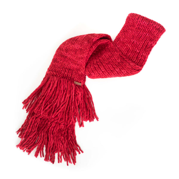 Women's Chunky Oversized Merino Wool Long Tassel Scarf - Red Delicious