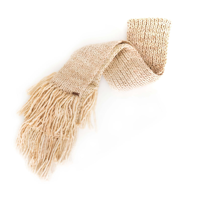Women's Chunky Oversized Merino Wool Long Tassel Scarf - Vanilla Cream