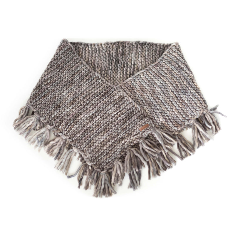 Women's Oversized Merino Wool Shawl with Tassles - Smoky Pearl