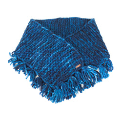 Women's Oversized Merino Wool Shawl with Tassles - Midnight Blue