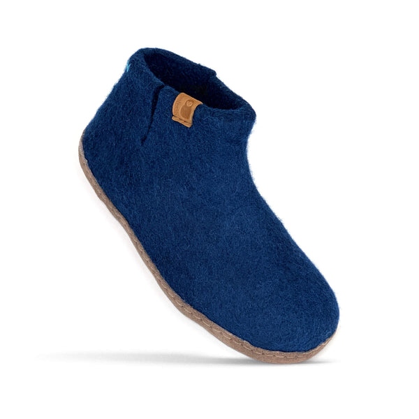 Product photo of Baabushka's dark blue bootie with leather sole.