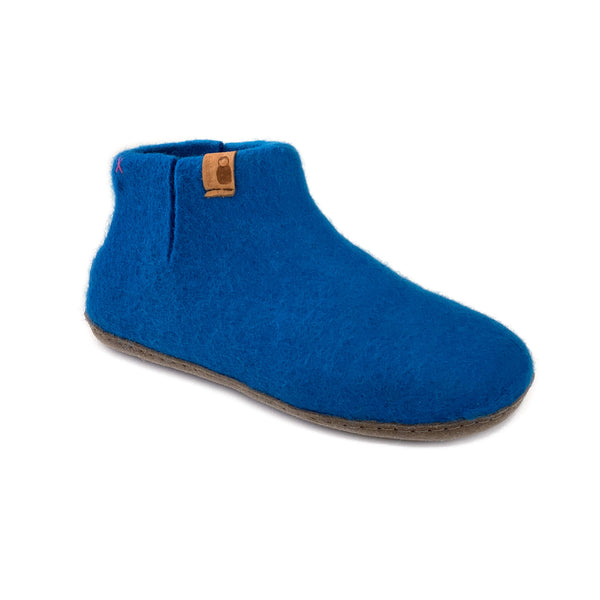 Wool Bootie with Leather Sole - Bright Blue